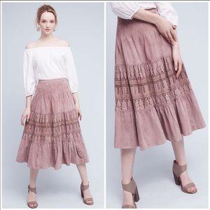 Anthropologie Suede Lavender Skirt